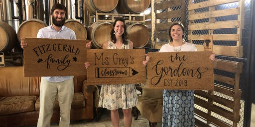 Hand Lettered Welcome Mats at Hysteria Brewing Company