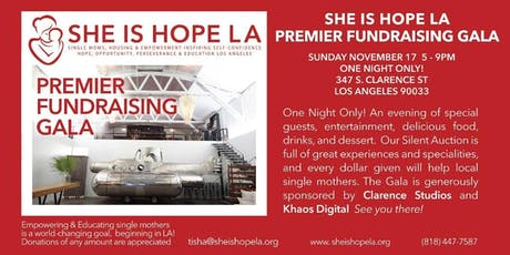 SHE IS HOPE LA Premiere Fundraising Gala & Silent Auction tickets