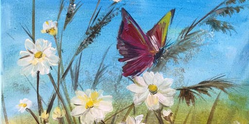 Chill & Paint Night @ Auckland City Hotel  -  Daisies & Butterfly