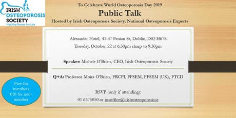 Public Talk to celebrate World Osteoporosis Day 2019 tickets