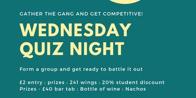 Wednesday Quiz Night - 241 Wings - 20% Student Discount  - Prizes!