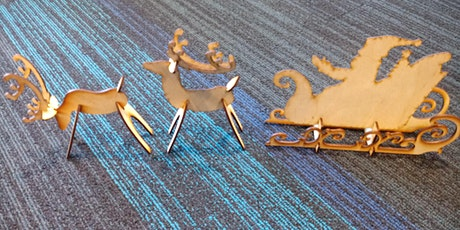 Wooden Santa and Reindeer stand up cut outs, laser, Fab Lab, holiday tickets