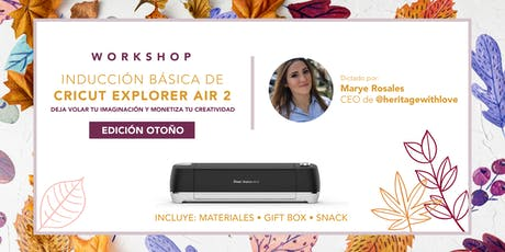 INDUCCION BASICA DE CRICUT EXPLORER AIR 2 tickets