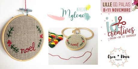 BRODERIE SUR POCHON PAR ATELIER MYLÈNE (Salon ID créatives Lille ) billets