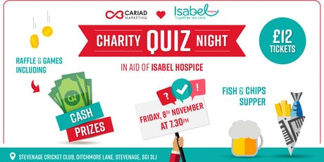 Cariad's Quiz Night in aid of Isabel Hospice tickets