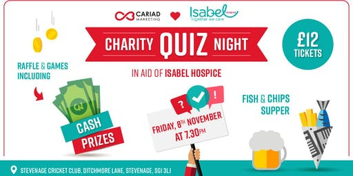 Cariad's Quiz Night in aid of Isabel Hospice