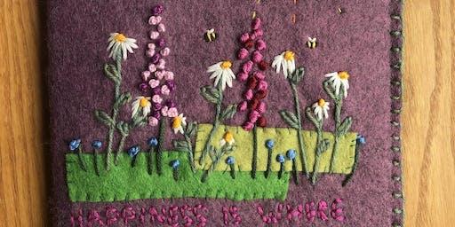 Make a hand embroidered felt notebook / sketchbook cover