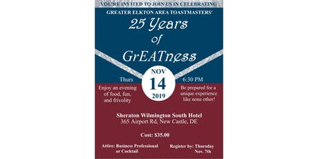 Greater Elkton Area Toastmasters 25th Anniversary Celebration tickets