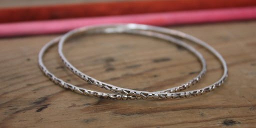 Silver Bangle with Charm - Beginners Silversmithing