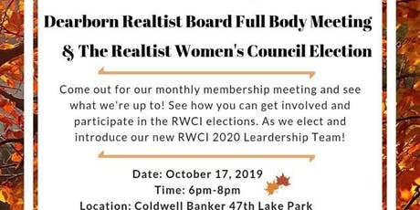 Dearborn Realtist Board & Realtist Women's Council Monthly Membership tickets