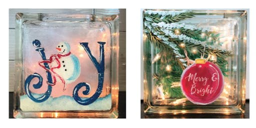 2 sided glass block Snowman Christmas Create and Sip Party Art Maker Class
