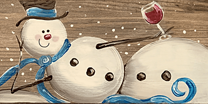 Merlot Snowman Painting on Tile  - Create and Paint Sip Party Art Maker Class