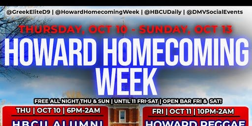 Official Howard Homecoming Week: Greek Takeover (Open Bar & Free Entry!)