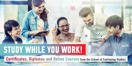 Study While You Work: Certificates, Diplomas and Online Courses from SCS tickets