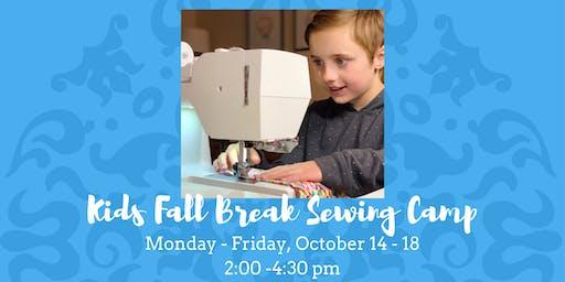 Kids Fall Break Sewing Camp • October 14, 16, & 18, 2019
