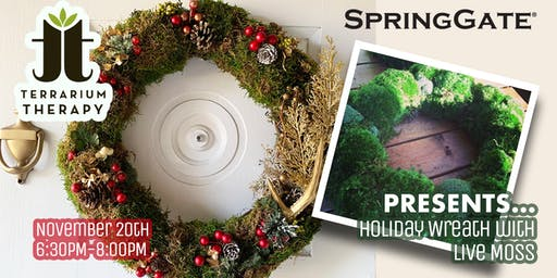 Holiday Wreath with Live Moss at Spring Gate