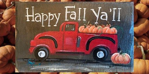 Fall Truck Slate Paint Night