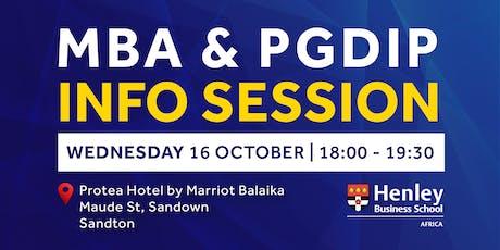 MBA & PGDip Information Session - Sandton | #HenleyAfrica tickets