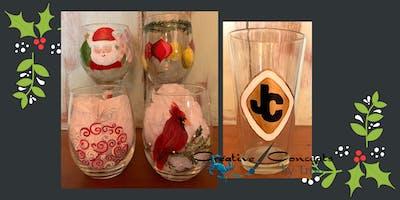 Christmas Glasses Paint Night for JC Lacrosse