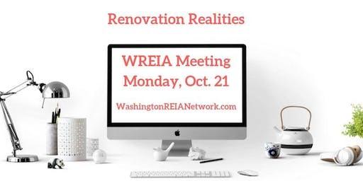 Oct. WREIA Meeting - Renovation Realities - Live - Mon. 10/21@ 6:30 PM