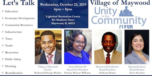 Maywood Let's Talk 4 Boards Represented for United Progress