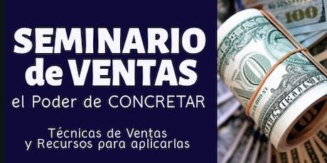 """SEMINARIO de VENTAS """" El PODER de CONCRETAR"""" tickets"""