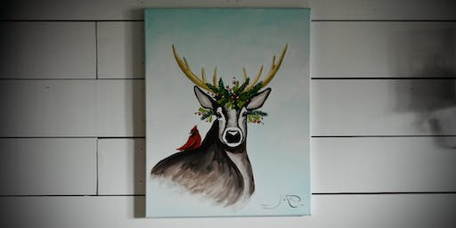 Christmas Deer Canvas paint lesson
