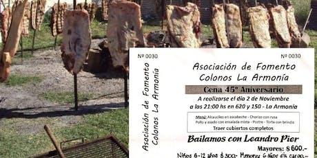 """Cena Show Aniversario """"Colonos La Armonía"""" entradas"""