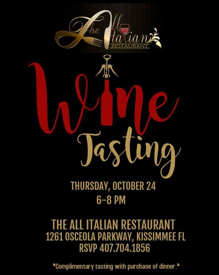 Wine Dine At All Italian Restaurant Tickets Thu Oct 24