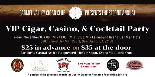 VIP Cigar, Casino, & Cocktail Party To Benefit The JDRF