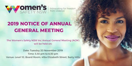 2019 Women's Safety NSW Inc AGM - attending in person tickets