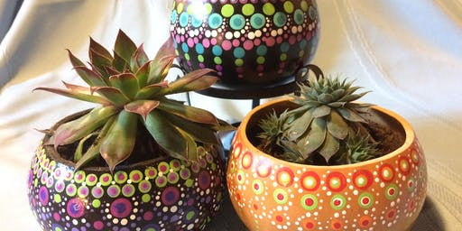 Dot Painted Gourd Bowl