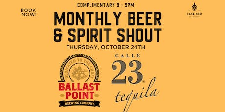 Free Bar Shout! Ballast Point Beer & Calle 23 Tequila tickets