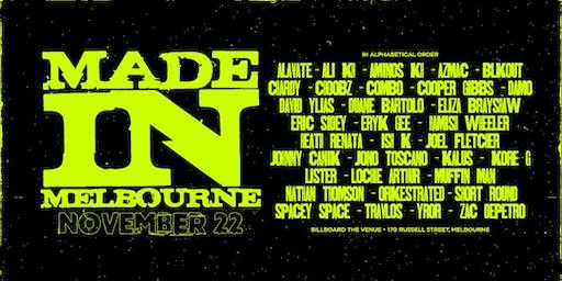 Made in Melbourne Nov 22nd
