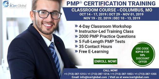PMP® Certification Training Course in Columbus, MO, USA | 4-Day PMP® Boot Camp with PMI® Membership and PMP Exam Fees Included.
