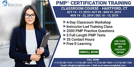 PMP® Certification Training Course in Hartford, CT, USA | 4-Day PMP® Boot Camp with PMI® Membership and PMP Exam Fees Included.  tickets