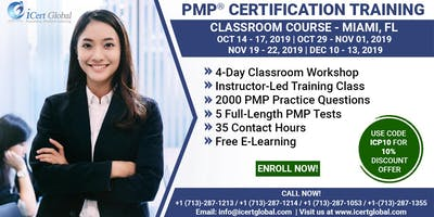 PMP® Certification Training Course in Miami, FL, USA | 4-Day PMP® Boot Camp with PMI® Membership and PMP Exam Fees Included.