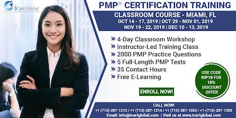 PMP® Certification Training Course in Miami, FL, USA | 4-Day PMP® Boot Camp with PMI® Membership and PMP Exam Fees Included.  tickets