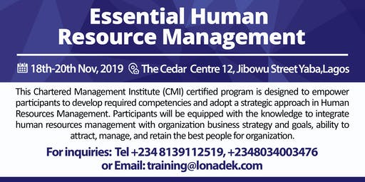 Essential Human Resources Management (CMI UK Certified)