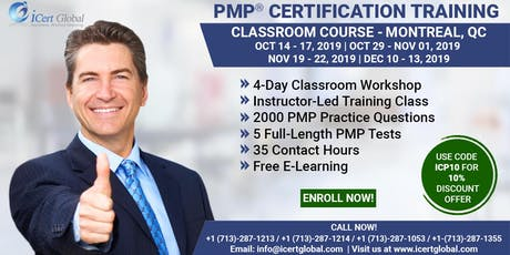 PMP® Certification Training Course in Montreal, QC, Canada | 4-Day PMP® Boot Camp with PMI® Membership and PMP Exam Fees Included.  billets