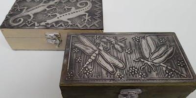 Embossed pewter box workshop