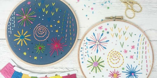 Hand Embroidered Firework Inspired Hoop Art  - Minikin, Sale Manchester