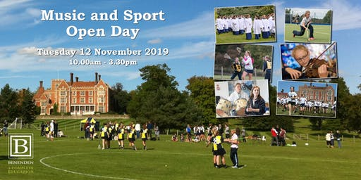 Benenden Music and Sport Open Day - Tuesday 12 November 2019