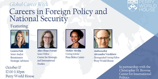 Global Career Week: Careers in Foreign Policy and National Security