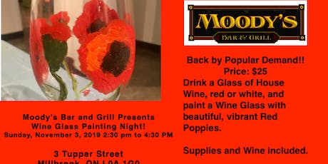 Moody's Bar & Grill welcomes Valerie Kent for Wine Glass Painting Event tickets