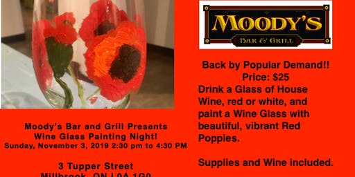 Moody's Bar & Grill welcomes Valerie Kent for Wine Glass Painting Event