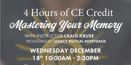 Mastering Your Memory - 4 hours of CE Credit tickets
