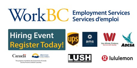 Vancouver North East WorkBC - Careers in the Warehouse, Fresh Produce, Production, & Airport Industry Job Fair  tickets