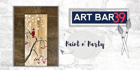 Paint & Sip | ART BAR 39 | Public Event | Snowy Cardinal on Wood tickets