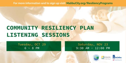 City of Malibu Community Resiliency Listening (Evening) Session